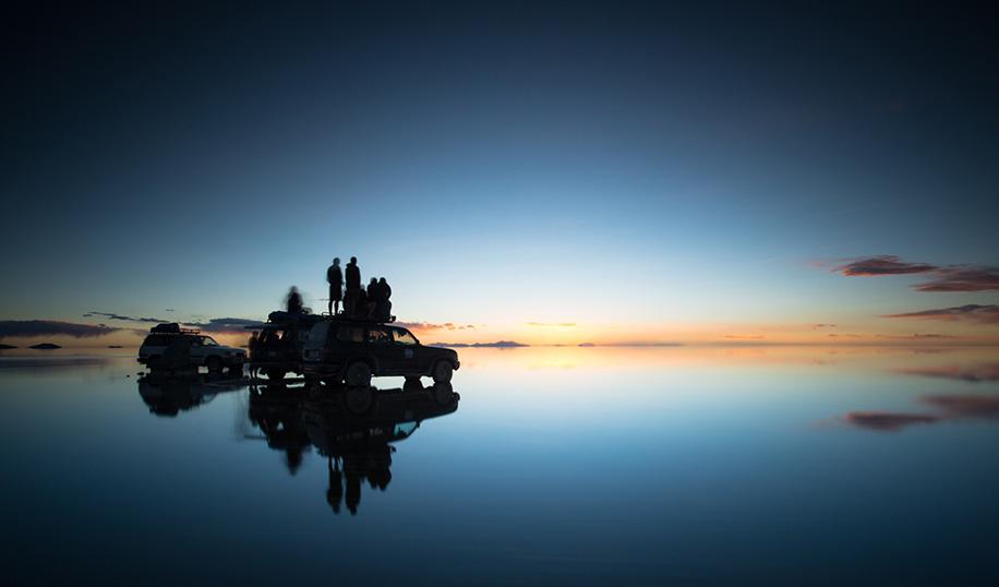 Uyuni, Bolivia: Uyuni Salt Flats at Sunset during wet season