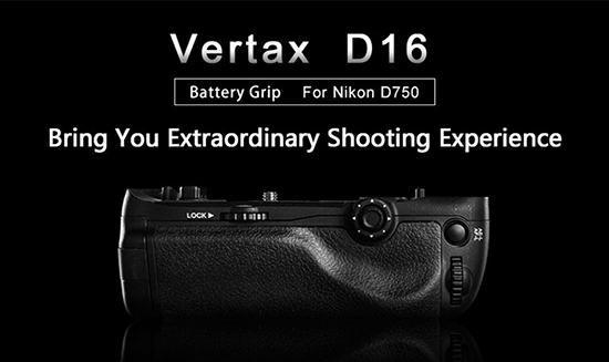 Pixel-Vertax-D16-battery-grip-for-Nikon-D750-DSLR-camera