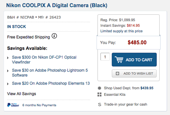 Nikon-Coolpix-A-camera-sale