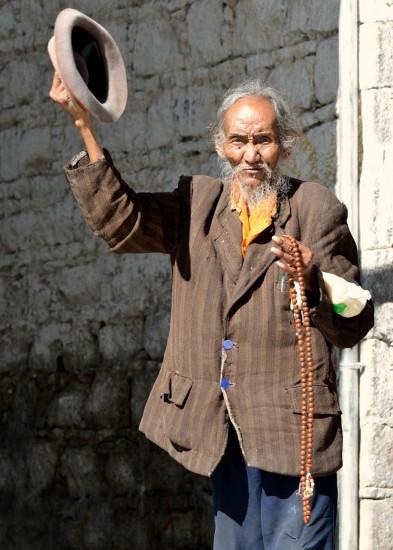 Happy old Tibetan man