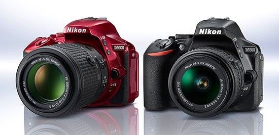 Nikon-D5500-DSLR-camera-in-red-and-black