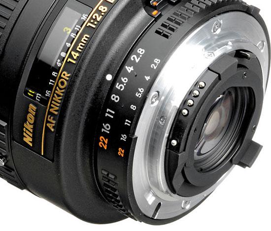 Nikkor-14mm-f2.8D-ED-lens with gelatin filter slot