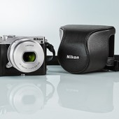 Nikon-1-J5-camera-with-leather-case