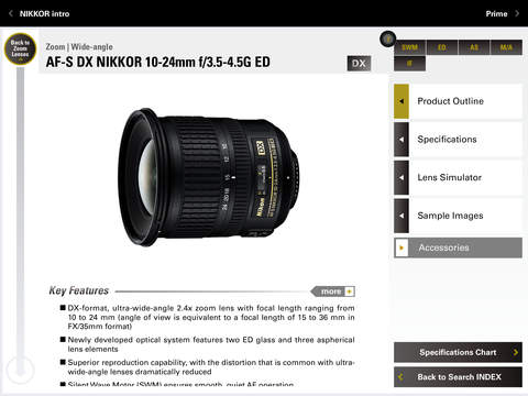 Nikon NIKKOR & ACC app for iPad 4