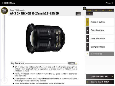 Nikon NIKKOR & ACC app for iPad 4