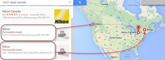Two Nikon repair center closed in Canada