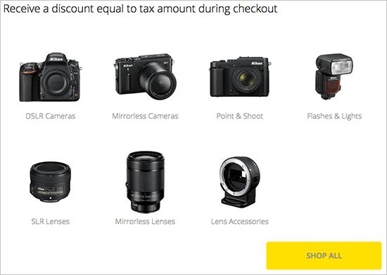 Nikon Sales Tax Promo