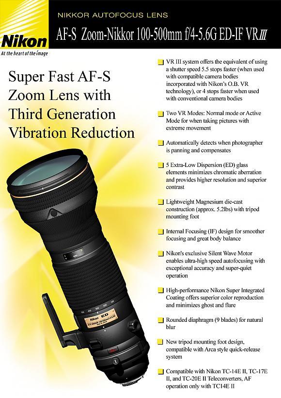Nikon 100-500mm lens rumor