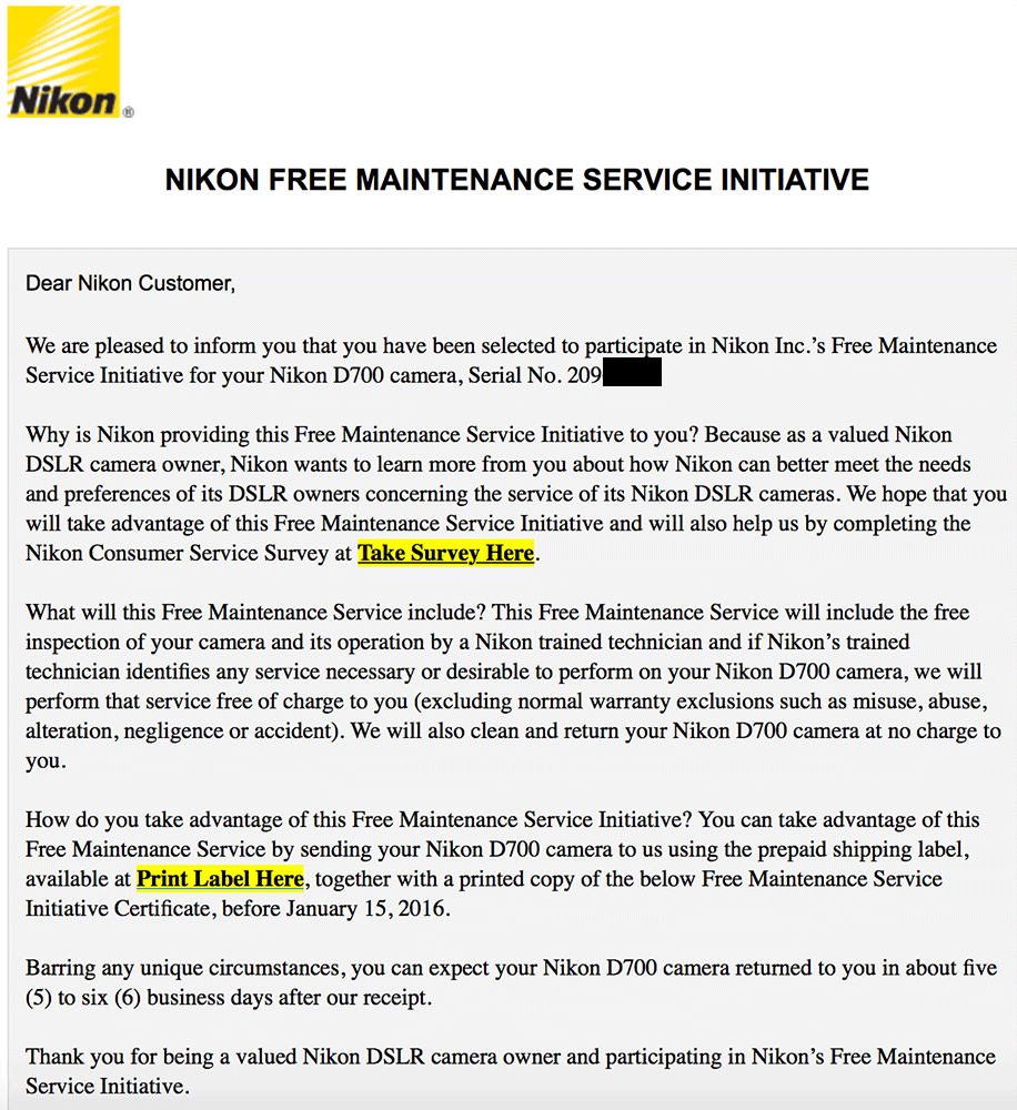 Nikon-D700-free-maintenance-service-initiative-offer-2