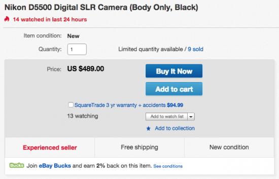 Nikon D5500 camera sale
