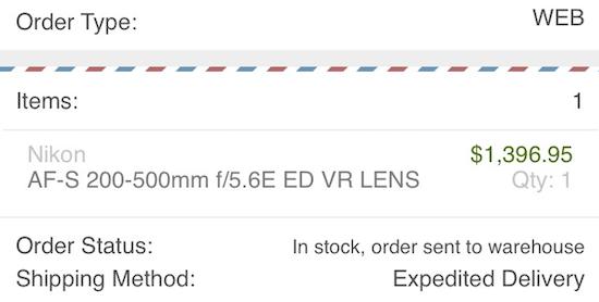 Nikon 200-500mm f:5.6E ED VR lens shipping