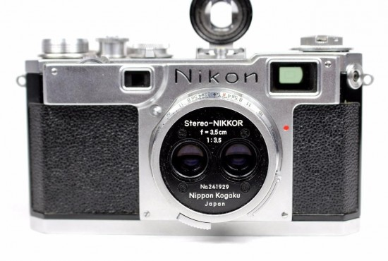 Nikon Stereo-Nikkor f:3.5 3.5cm lens attached to a Nikon S2 rangefinder camera
