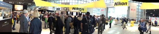 Nikon booth at the 2015 PhotoPlus Expo panorama