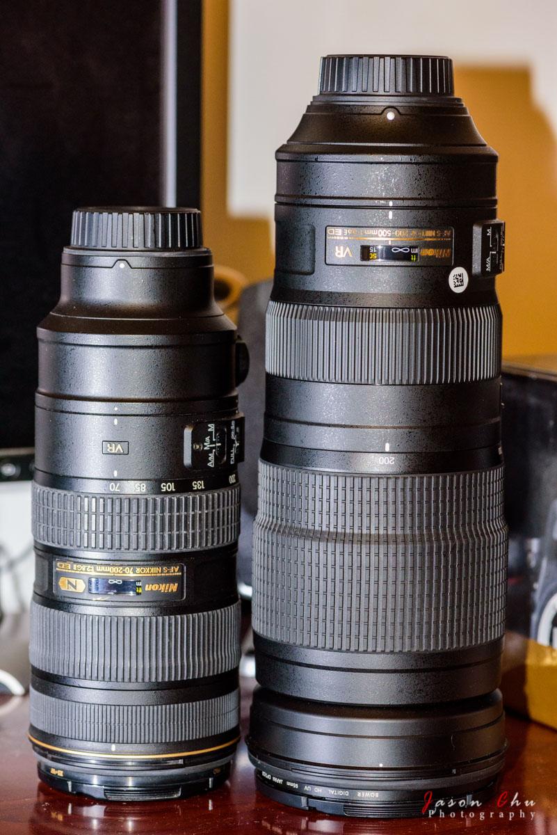 Size comparison of the Nikon 200-500mm f/5.6E and 70-200 f/2.8 lenses