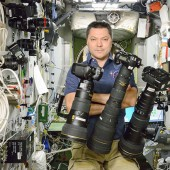 Russian cosmonaut Oleg Kononenko with Nikon gear on the ISS