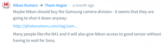 Nikon buying Samsung rumors