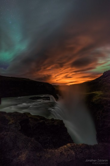 Opposing Forces Aurora over Gullfoss Waterfall Zeiss 15mm, f/2.8, 30s, ISO 1600