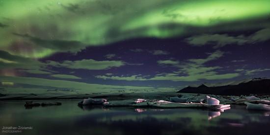 Reflecting on Jökulsárlón Jökulsárlón Glacier Lagoon Nikon D810, Zeiss 21mm, 15s, ISO 800