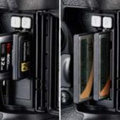 Nikon D5 XQD CF memory card slots