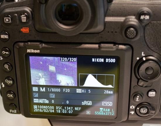 Nikon D500 ISO 1,640,000 info screen