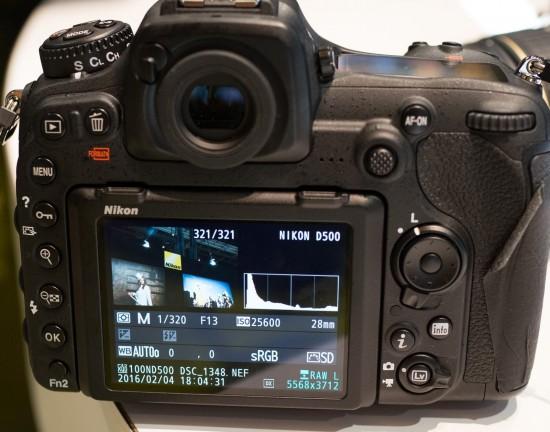 Nikon D500 ISO 25,600 info screen