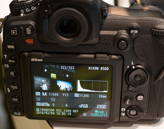 Nikon D500 ISO 51,200 info screen