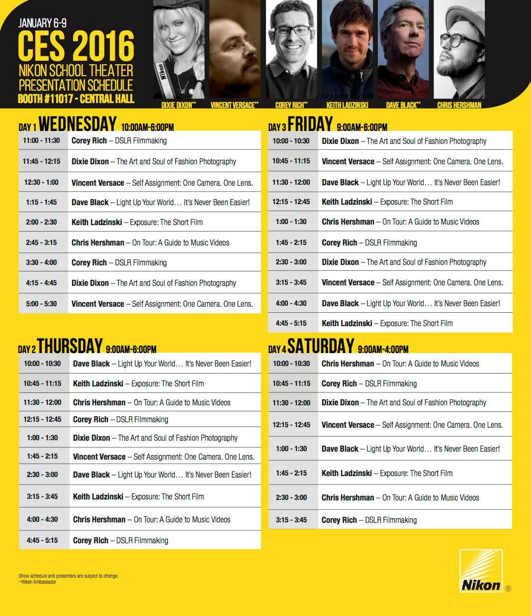 Nikon at 2016 CES schedule