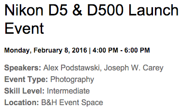 Nikon D5 D500 launch event
