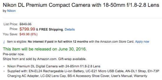 Nikon DL price drop