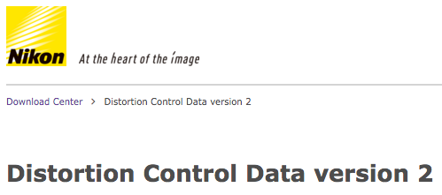 Nikon Distortion Control Data version 2