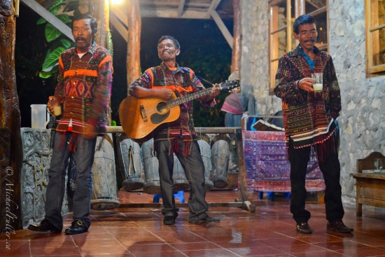 Drinking Music, Drunken Staggering: Batak men at Lake Toba sing a drinking song, complete with drunken staggering. They were great.