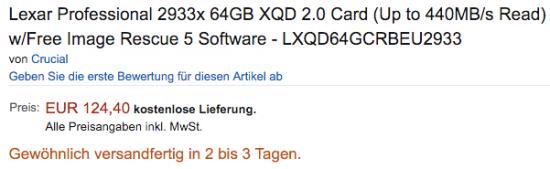 Lexar 2933x 64GB XQD 2.0 memory cards sale