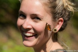 My lovely girlfriend being attacked by butterflies