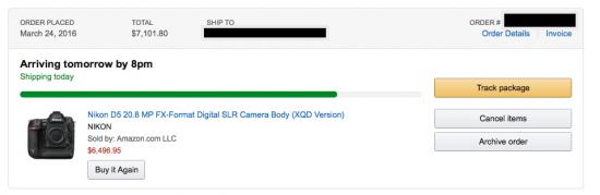 Nikon D5 Amazon waiting time