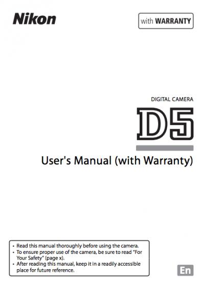 Nikon D5 camera manual