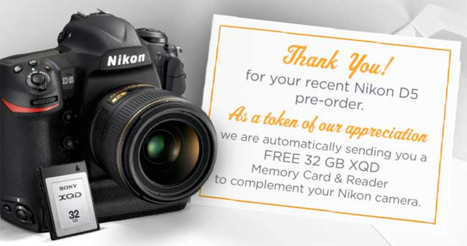Confirmed: Nikon D5 to come with free XQD card and reader also in the US