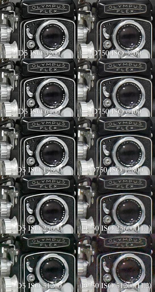 Nikon D5 vs. D750 ISO comparison
