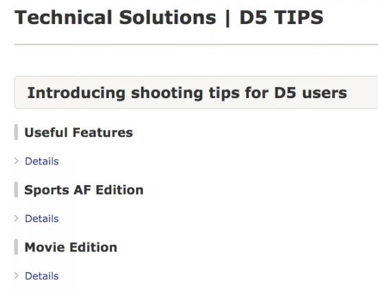 Nikon technical solutions shooting tips for D5