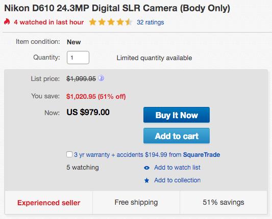 Nikon D610 camera sale