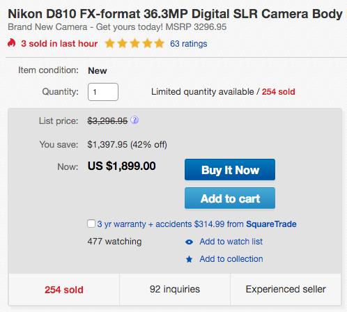 Nikon D810 low price