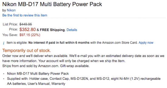Nikon MB-D17 battery grip for D500 now on sale at Amazon US