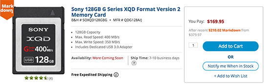 Sony-XQD-memory-card-price-drop