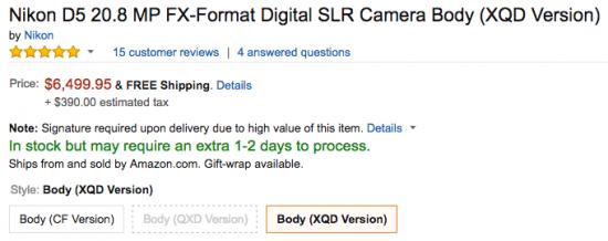 Nikon D5 XQD camera in stock