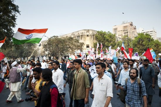 The centre of Delhi came to a standstill as a mass of people took over the roads.