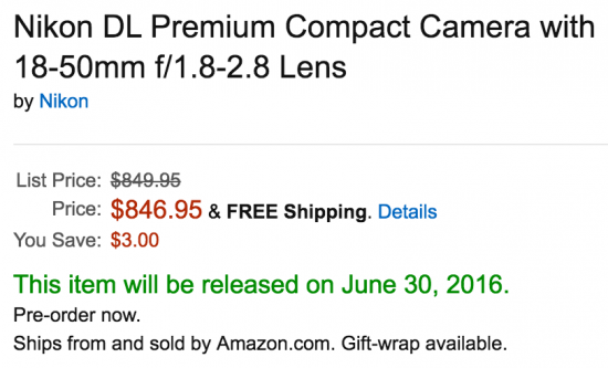 Nikon DL shipping date