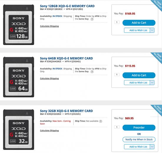 Sony-XQD-G-E-memory-cards
