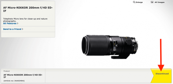 Nikon-AF-Micro-Nikkor-200mm-f4D-IF-ED-lens-listed-as-discontinued