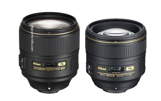 Nikon AF-S Nikkor 105mm f:1.4E ED compared to 85mm f:1.4 lens