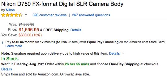 Nikon-D750-camera-deal-at-Amazon