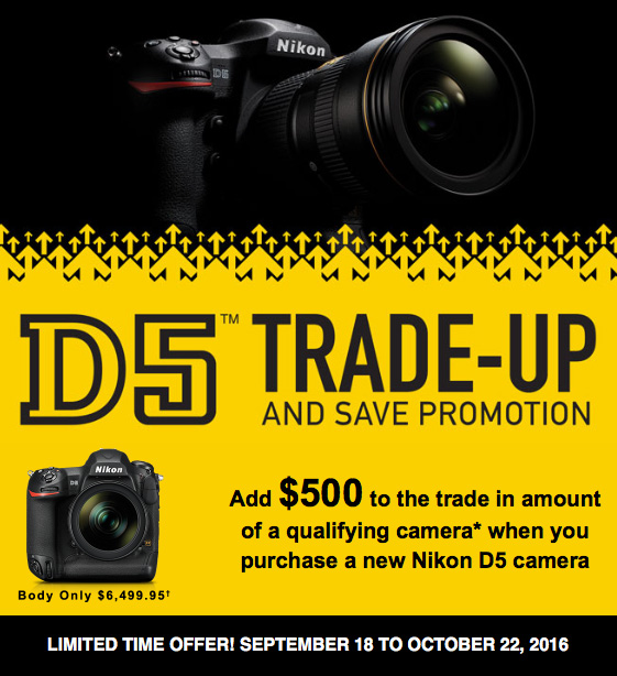New Nikon D5 trade-up promo in the US